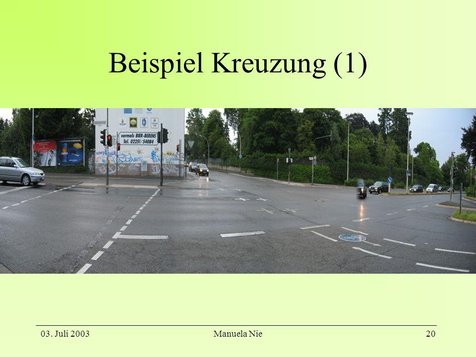 Beispiel Kreuzung (1) 03. Juli 2003 Manuela Nie