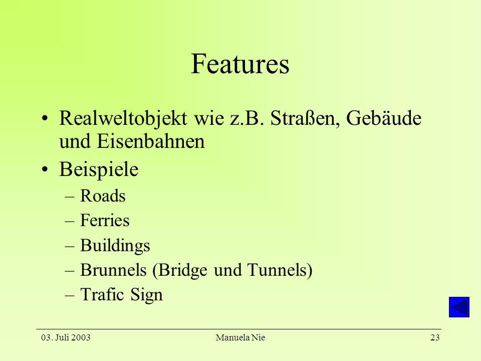 Features Realweltobjekt wie z.B. Straßen, Gebäude und Eisenbahnen