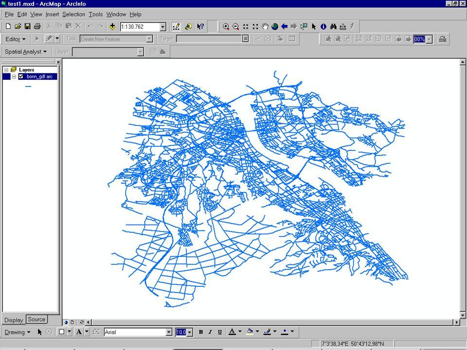 Ausschnitt aus ArcMap-Bonner GDF
