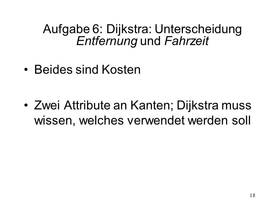 Aufgabe 6: Dijkstra: Unterscheidung Entfernung und Fahrzeit