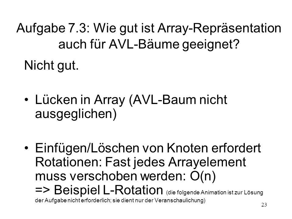 Aufgabe 7.3: Wie gut ist Array-Repräsentation auch für AVL-Bäume geeignet
