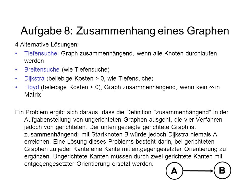 Aufgabe 8: Zusammenhang eines Graphen