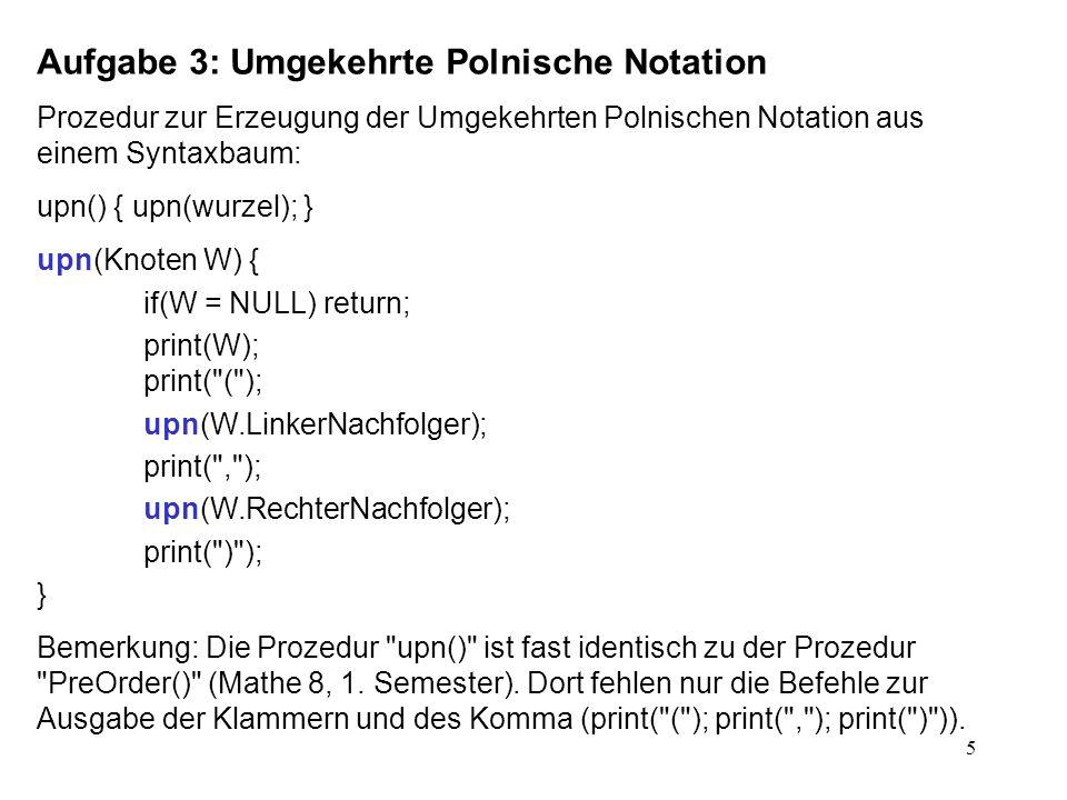 Aufgabe 3: Umgekehrte Polnische Notation