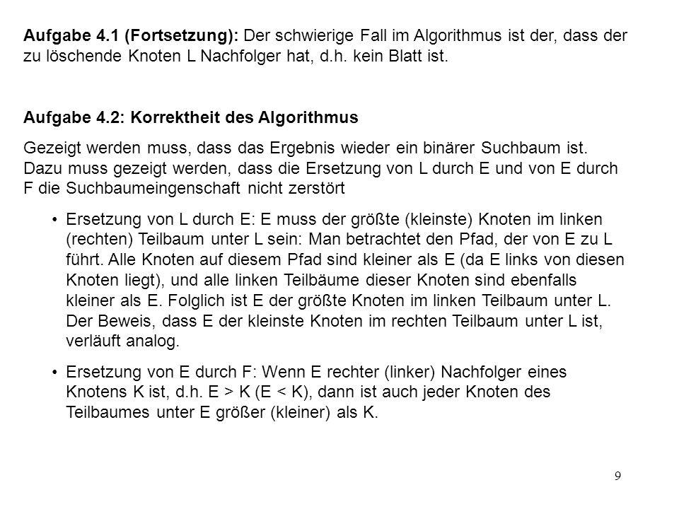 Aufgabe 4.1 (Fortsetzung): Der schwierige Fall im Algorithmus ist der, dass der zu löschende Knoten L Nachfolger hat, d.h. kein Blatt ist.