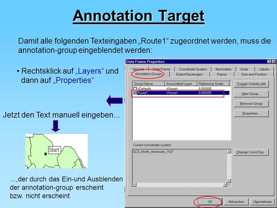 """Annotation Target Damit alle folgenden Texteingaben """"Route1 zugeordnet werden, muss die. annotation-group eingeblendet werden:"""