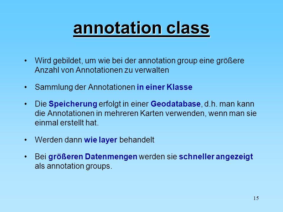 annotation class Wird gebildet, um wie bei der annotation group eine größere Anzahl von Annotationen zu verwalten.