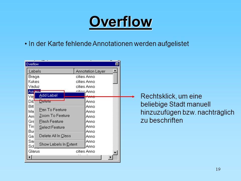Overflow In der Karte fehlende Annotationen werden aufgelistet