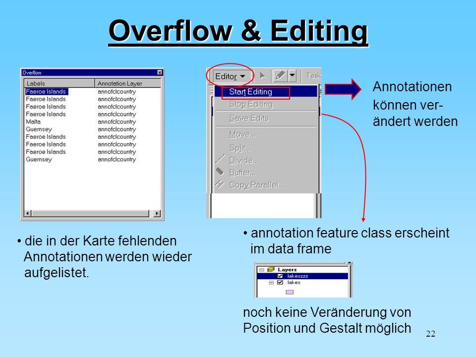 Overflow & Editing Annotationen können ver- ändert werden