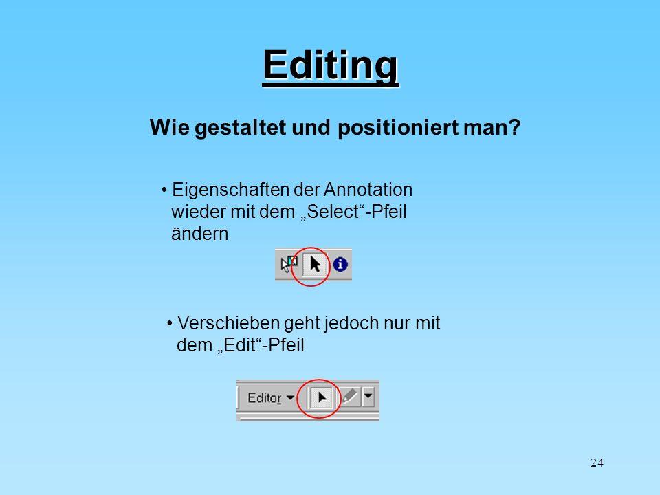 Editing Wie gestaltet und positioniert man