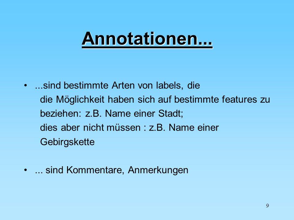 Annotationen... ...sind bestimmte Arten von labels, die