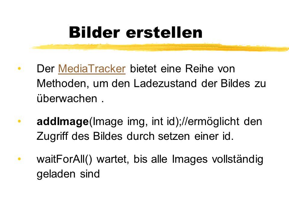 Bilder erstellenDer MediaTracker bietet eine Reihe von Methoden, um den Ladezustand der Bildes zu überwachen .
