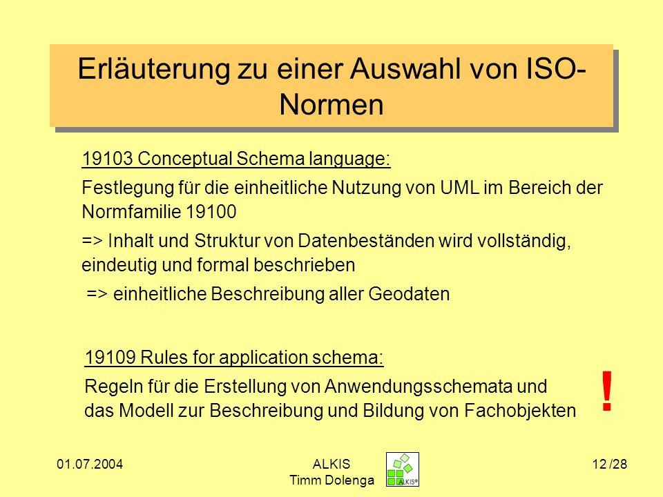 Erläuterung zu einer Auswahl von ISO- Normen