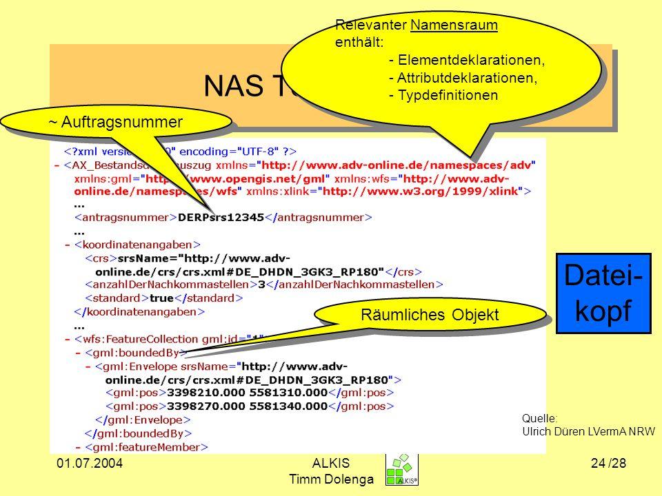NAS Testdatensatz Datei- kopf ~ Auftragsnummer Räumliches Objekt