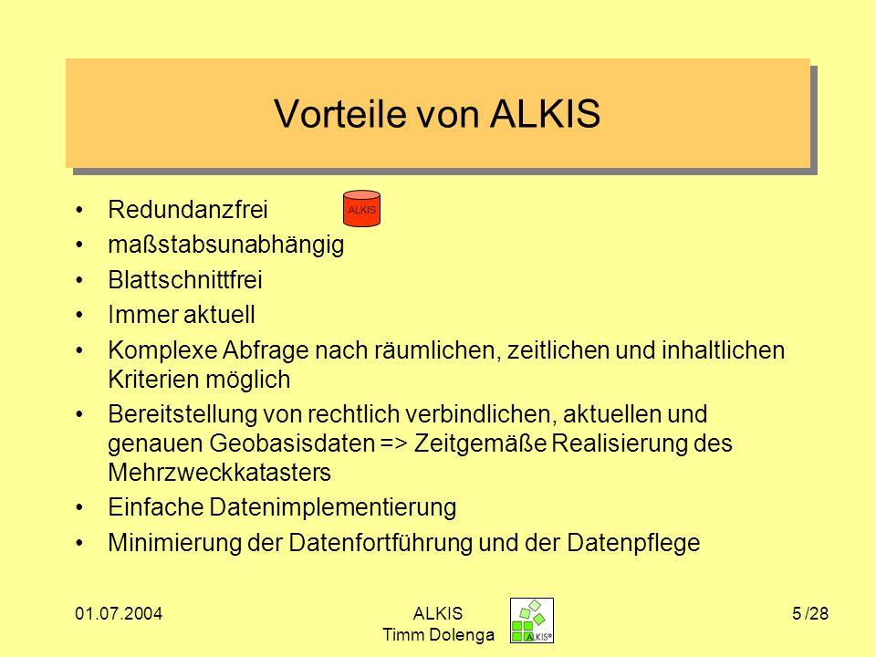 Vorteile von ALKIS Redundanzfrei maßstabsunabhängig Blattschnittfrei