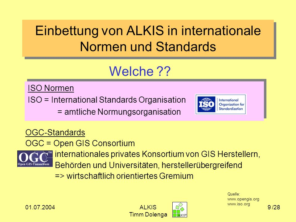 Einbettung von ALKIS in internationale Normen und Standards