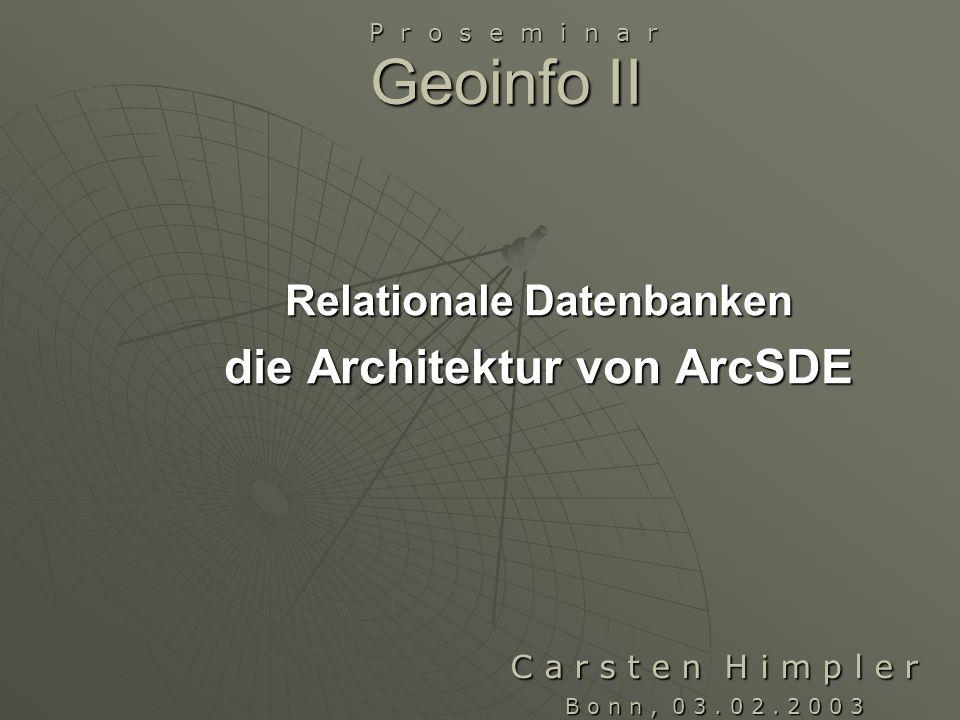 Relationale Datenbanken die Architektur von ArcSDE