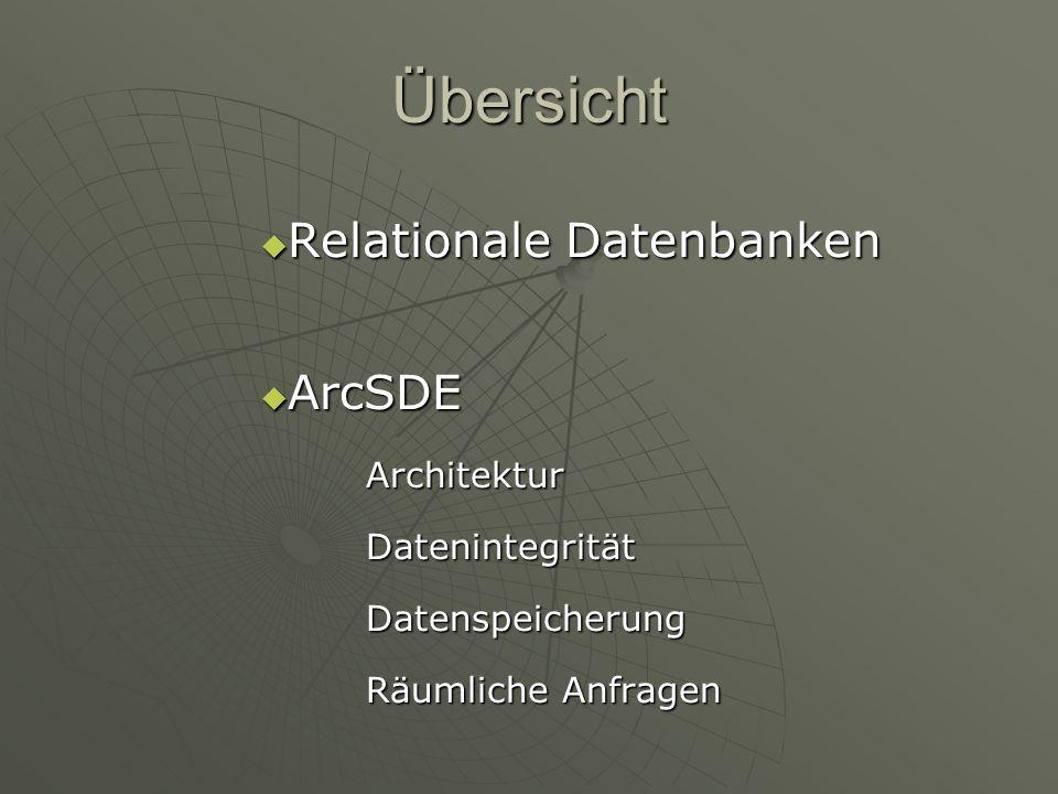 Übersicht Relationale Datenbanken ArcSDE Architektur Datenintegrität