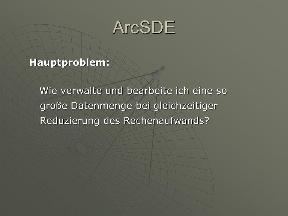 ArcSDE Hauptproblem: Wie verwalte und bearbeite ich eine so große Datenmenge bei gleichzeitiger Reduzierung des Rechenaufwands