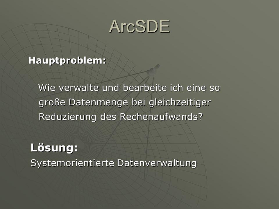 ArcSDE Lösung: Hauptproblem: