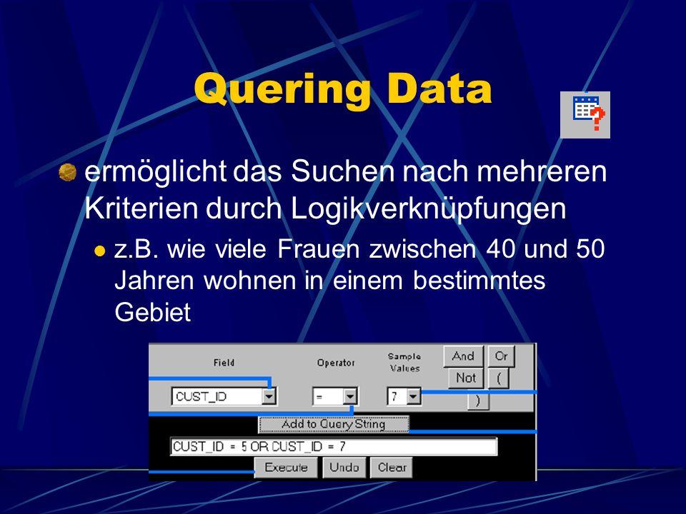 Quering Data ermöglicht das Suchen nach mehreren Kriterien durch Logikverknüpfungen.