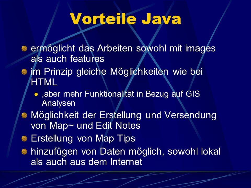 Vorteile Javaermöglicht das Arbeiten sowohl mit images als auch features. im Prinzip gleiche Möglichkeiten wie bei HTML.