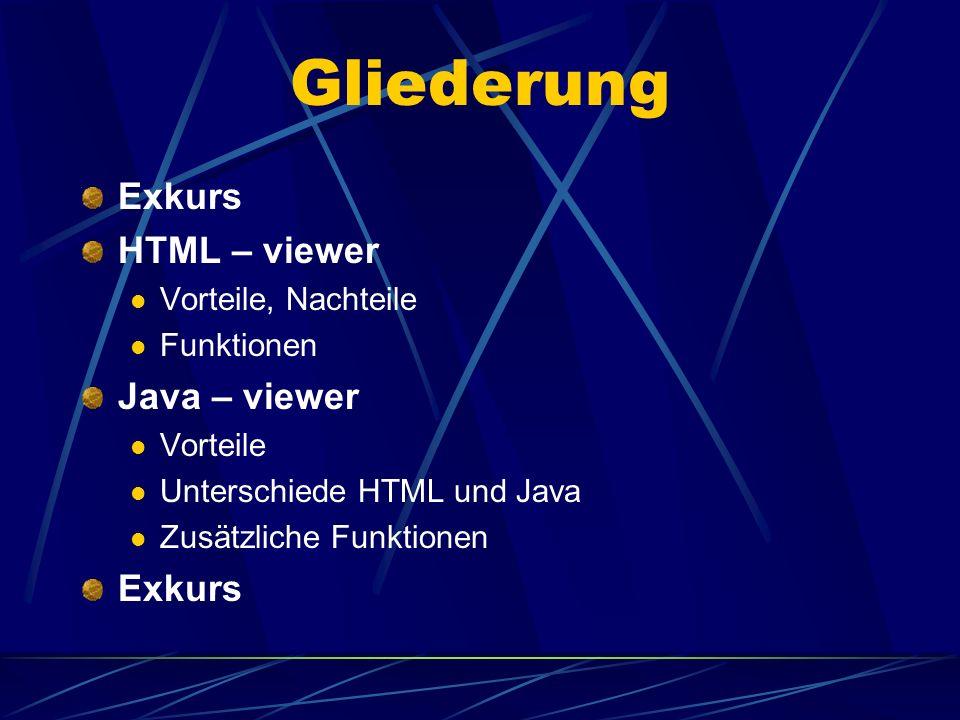 Gliederung Exkurs HTML – viewer Java – viewer Vorteile, Nachteile