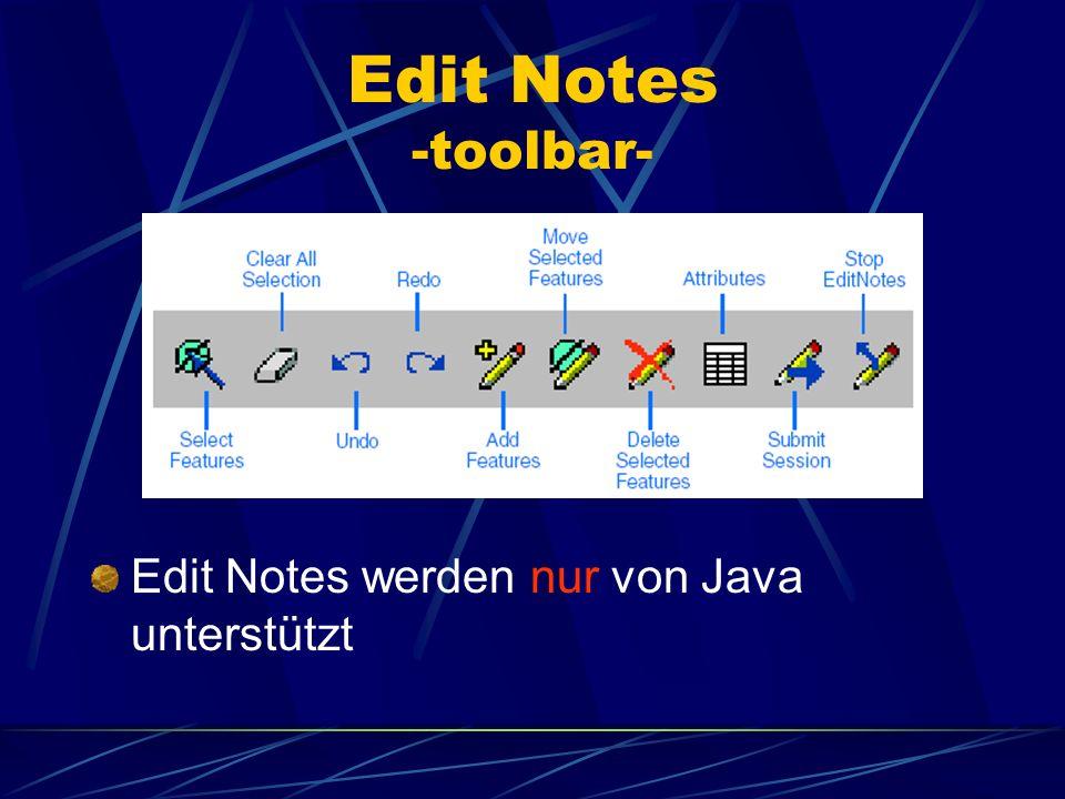 Edit Notes -toolbar- Edit Notes werden nur von Java unterstützt