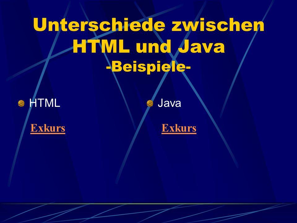 Unterschiede zwischen HTML und Java -Beispiele-