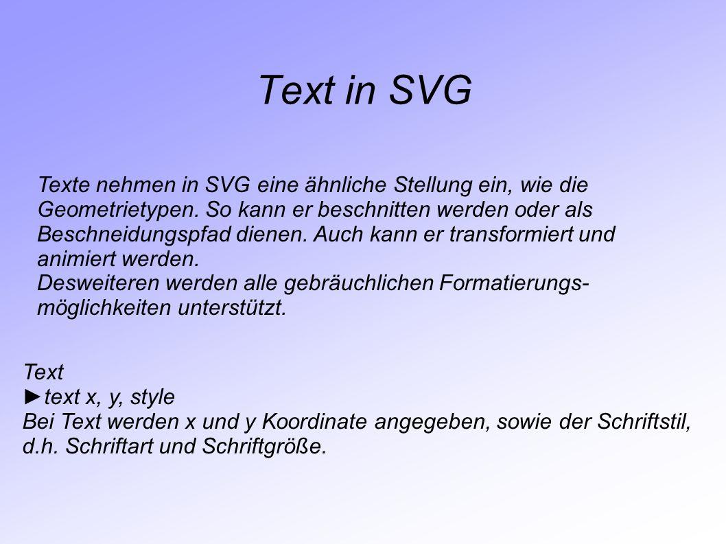 Text in SVG Texte nehmen in SVG eine ähnliche Stellung ein, wie die