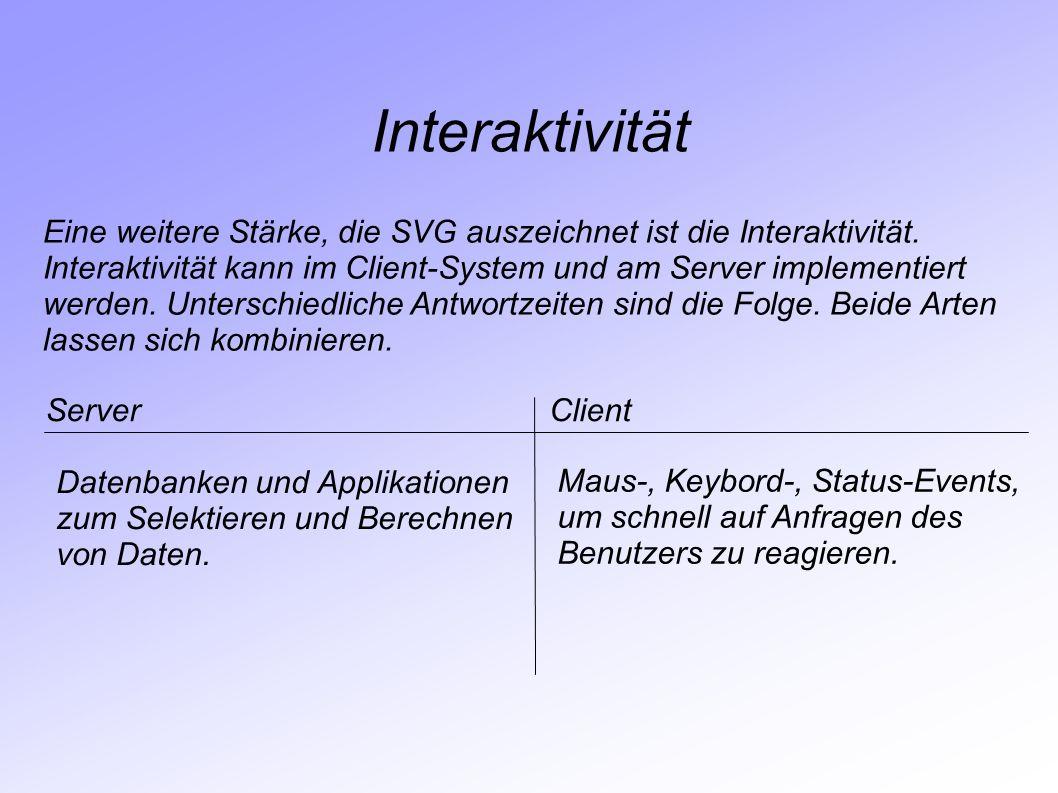 Interaktivität Eine weitere Stärke, die SVG auszeichnet ist die Interaktivität. Interaktivität kann im Client-System und am Server implementiert.