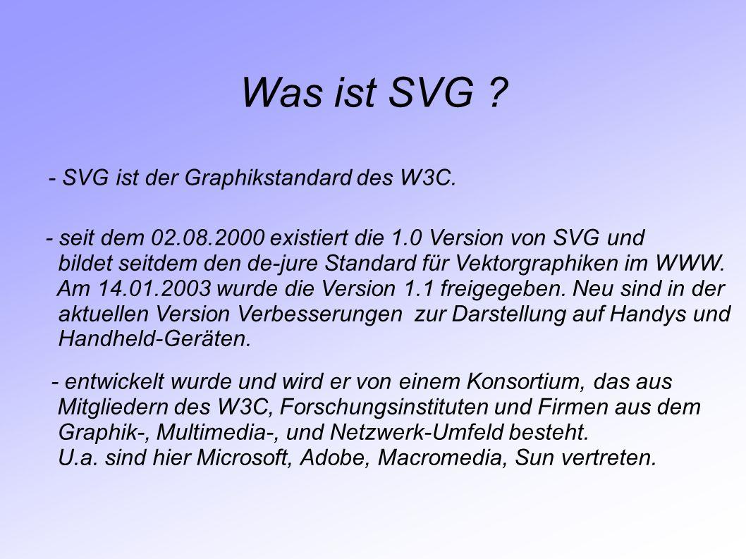 Was ist SVG - SVG ist der Graphikstandard des W3C.