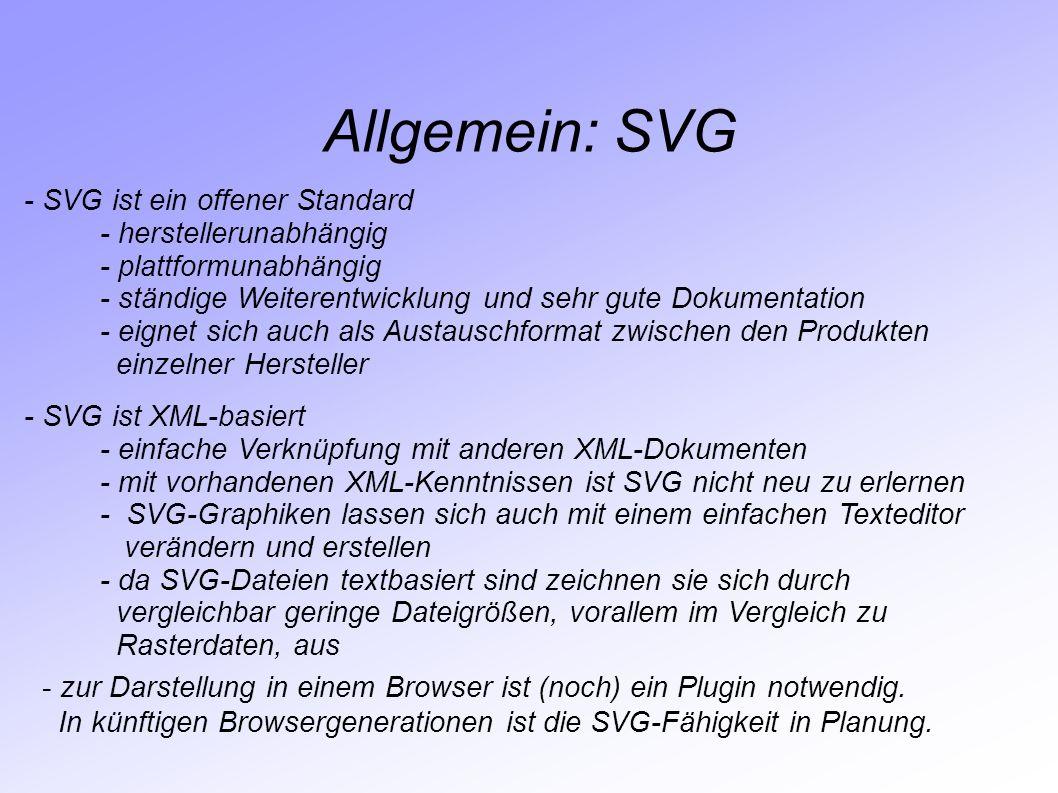Allgemein: SVG - SVG ist ein offener Standard - herstellerunabhängig