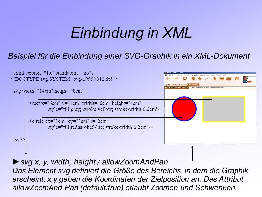 Einbindung in XML Beispiel für die Einbindung einer SVG-Graphik in ein XML-Dokument. < xml version= 1.0 standalone= no >