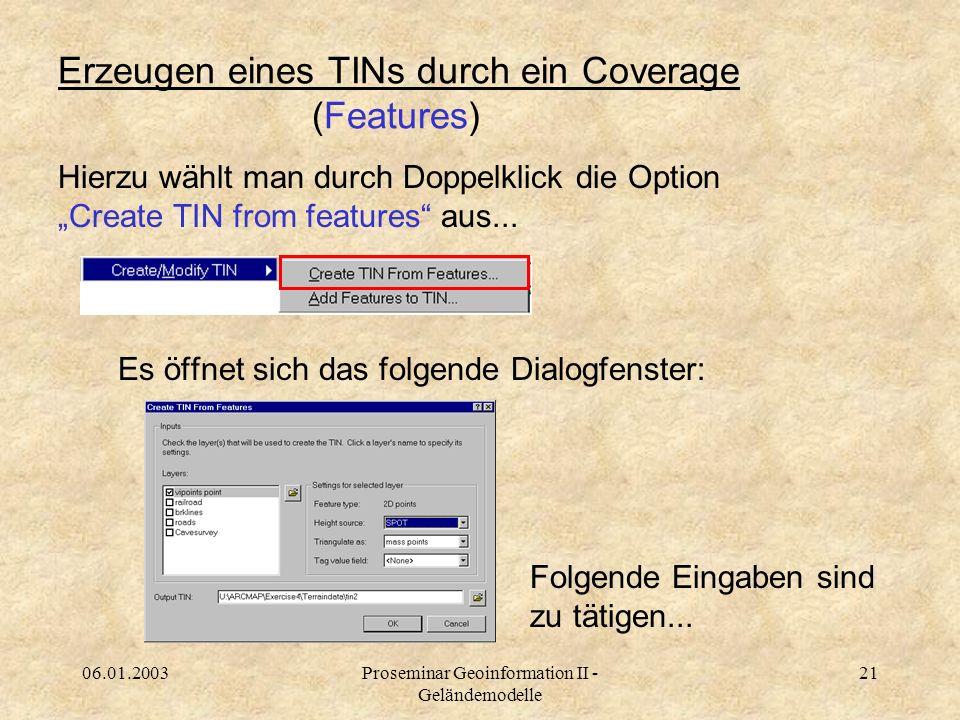 Erzeugen eines TINs durch ein Coverage (Features)