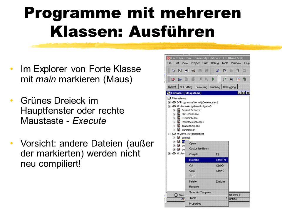 Programme mit mehreren Klassen: Ausführen