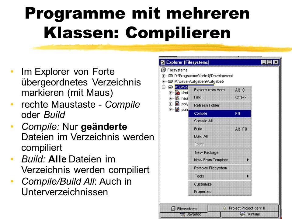 Programme mit mehreren Klassen: Compilieren