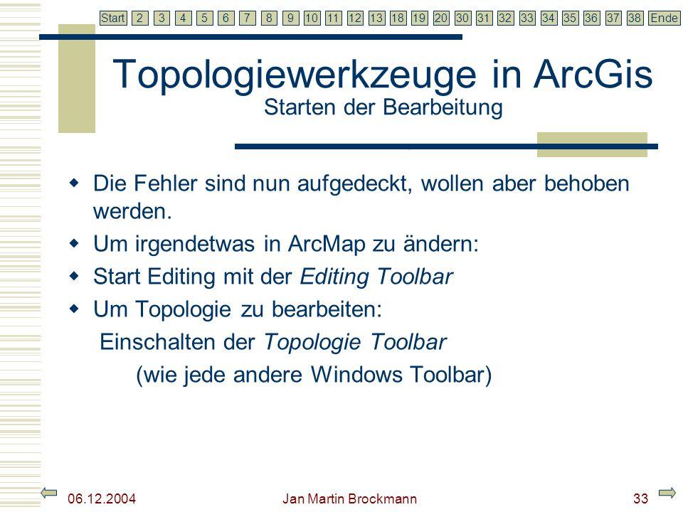 Topologiewerkzeuge in ArcGis Starten der Bearbeitung