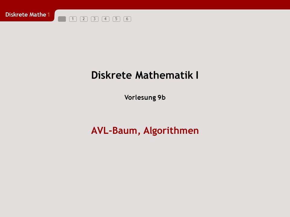Diskrete Mathematik I Vorlesung 9b AVL-Baum, Algorithmen