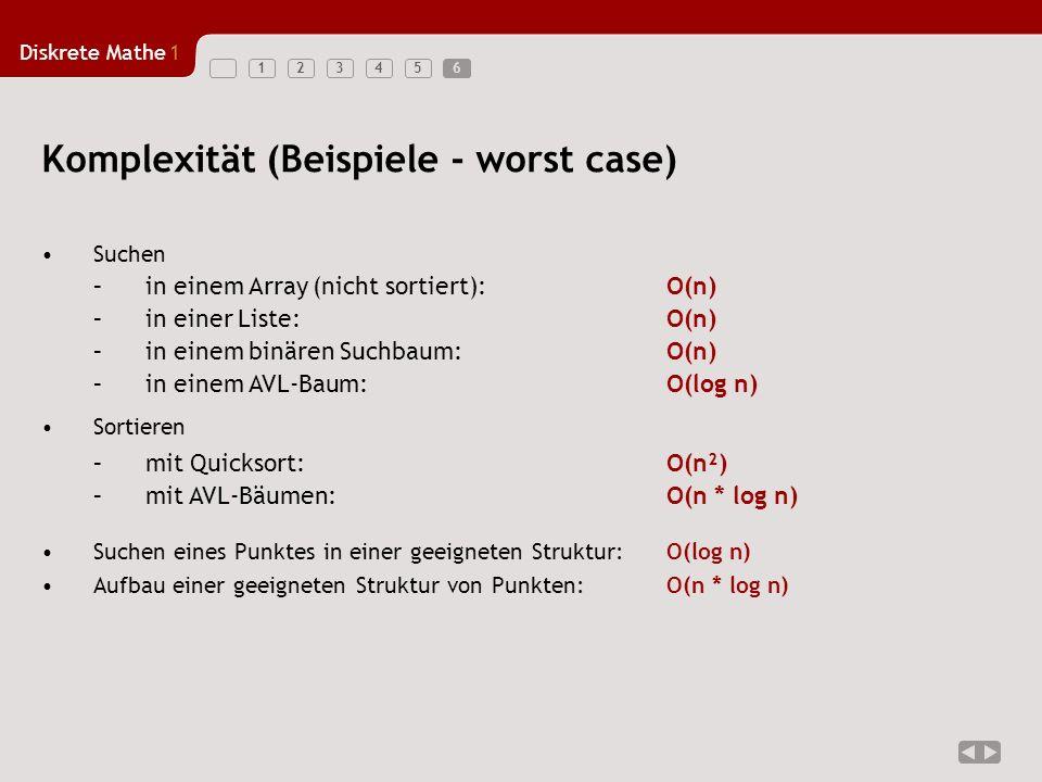 Komplexität (Beispiele - worst case)