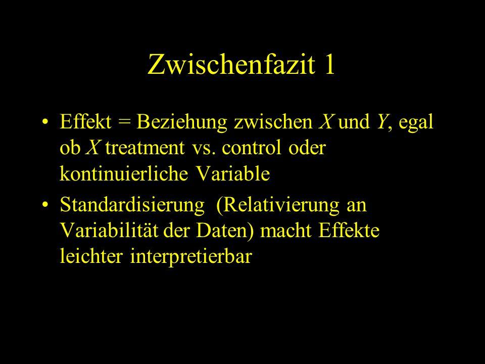 Zwischenfazit 1 Effekt = Beziehung zwischen X und Y, egal ob X treatment vs. control oder kontinuierliche Variable.
