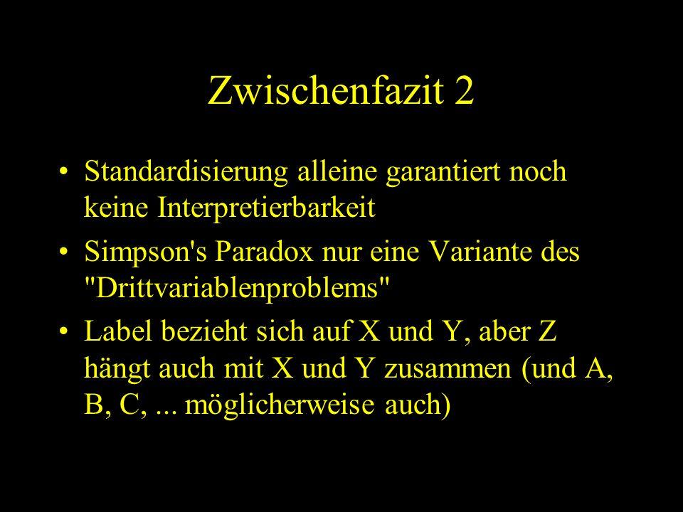 Zwischenfazit 2 Standardisierung alleine garantiert noch keine Interpretierbarkeit. Simpson s Paradox nur eine Variante des Drittvariablenproblems