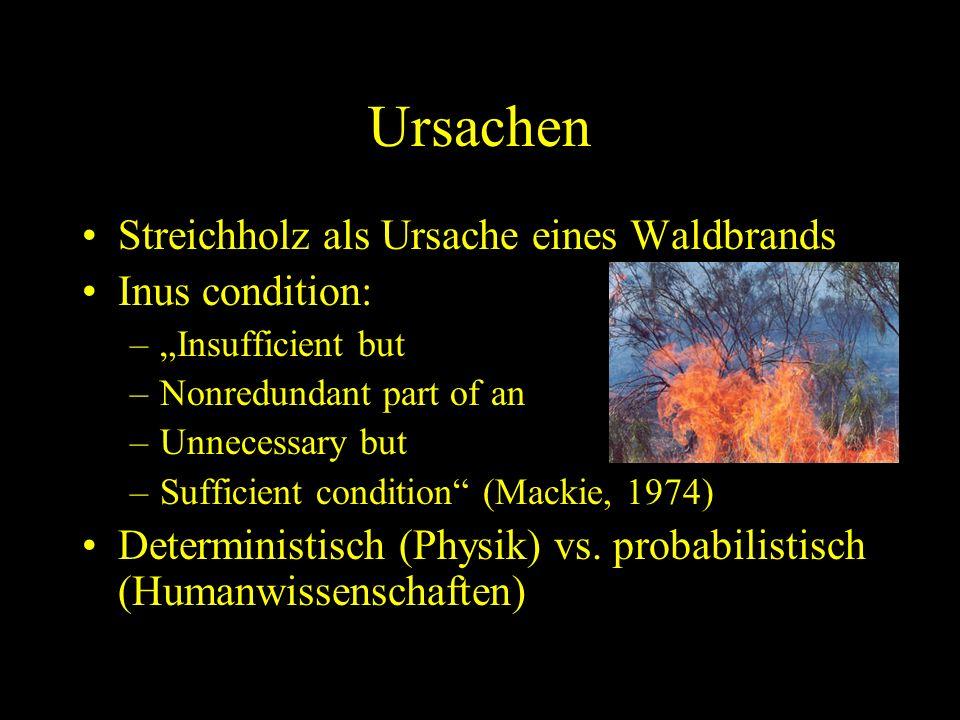 Ursachen Streichholz als Ursache eines Waldbrands Inus condition: