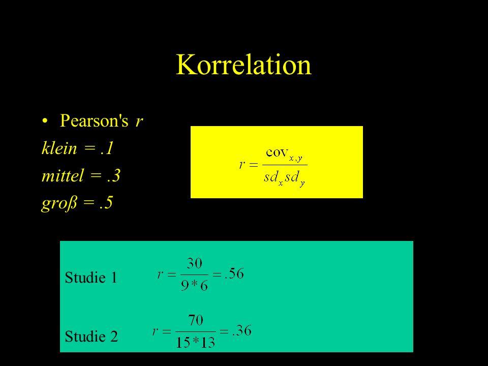 Korrelation Pearson s r klein = .1 mittel = .3 groß = .5 Studie 1