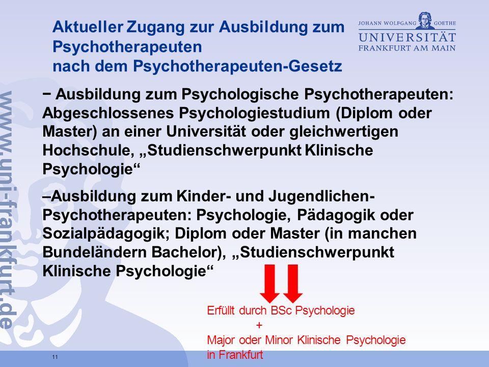 Aktueller Zugang zur Ausbildung zum Psychotherapeuten nach dem Psychotherapeuten-Gesetz