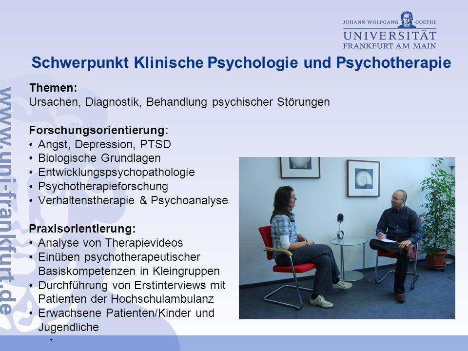 Schwerpunkt Klinische Psychologie und Psychotherapie