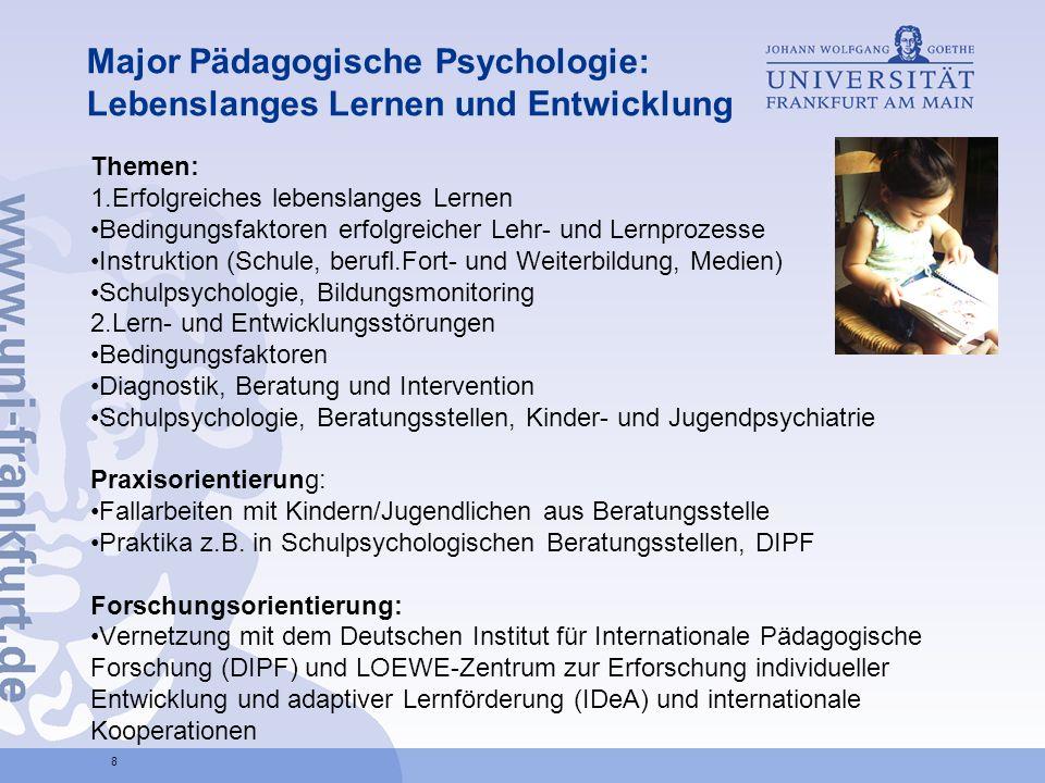 Major Pädagogische Psychologie: Lebenslanges Lernen und Entwicklung