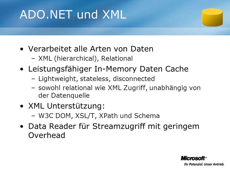 ADO.NET und XML Verarbeitet alle Arten von Daten