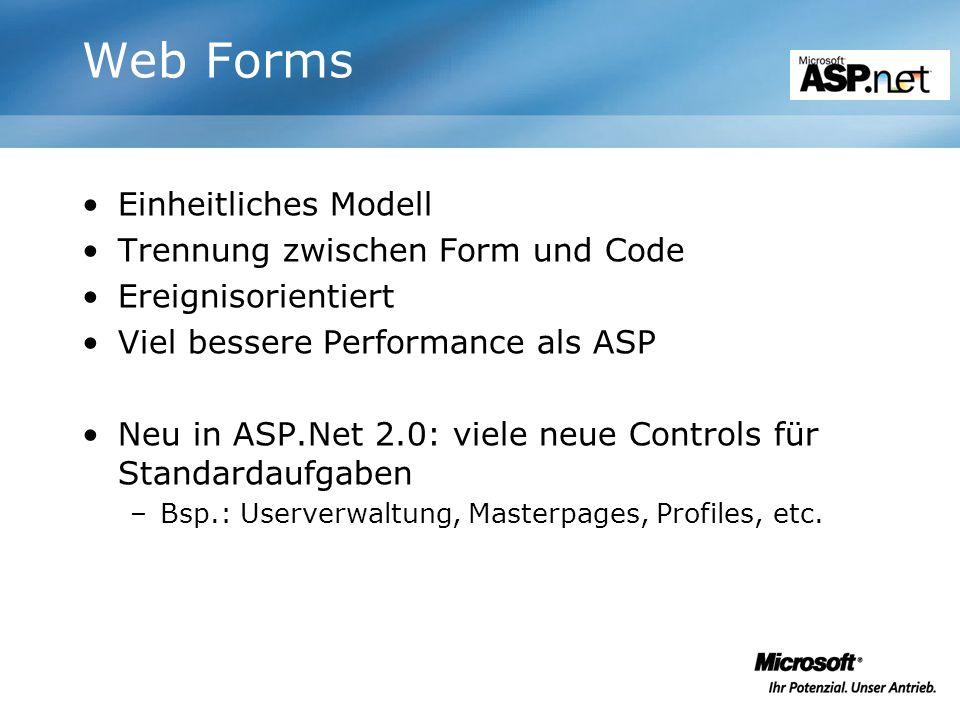Web Forms Einheitliches Modell Trennung zwischen Form und Code