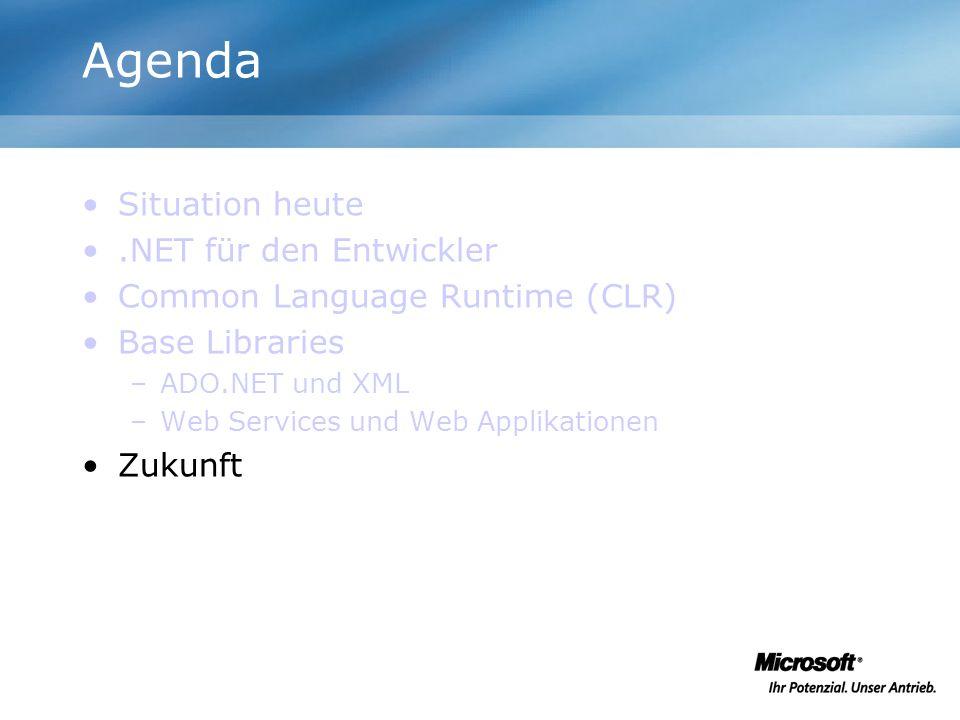 Agenda Situation heute .NET für den Entwickler