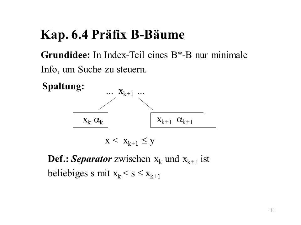 Kap. 6.4 Präfix B-Bäume Grundidee: In Index-Teil eines B*-B nur minimale. Info, um Suche zu steuern.